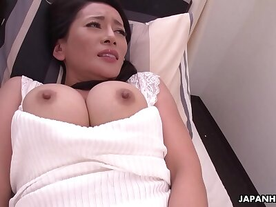 Japanese grown-up brunette, Rei Kitajima is masturbating all day, uncensored