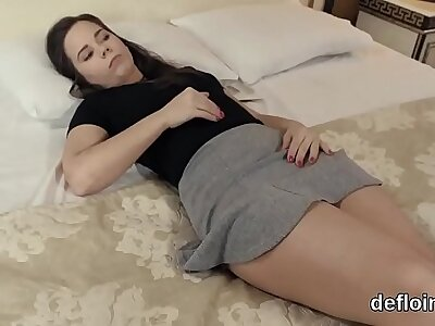 Defloration of coarse sweetie pink fuckbox and masturbating