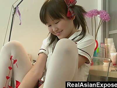 Petite Asian Orgasming In front School