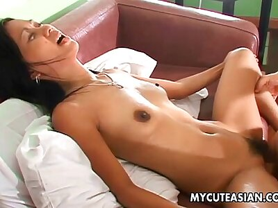 Asian amateurs flimsy pussy rammed