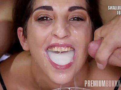 Premium Bukkake - Jimena Lago swallows 94 huge mouthful cumshots