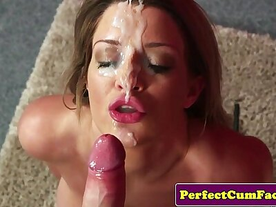 Bigtitted cumshot toddler gets facial report register bj